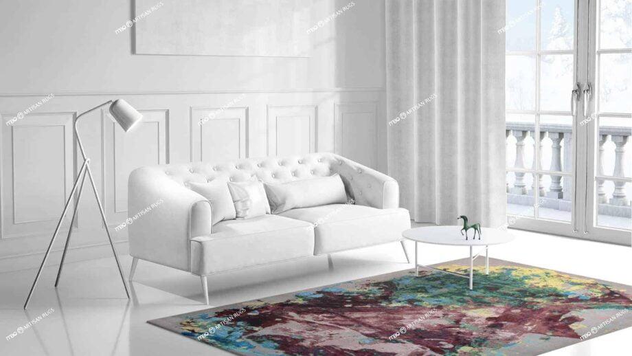 Mae Artisan Rugs | Art Mauve Wall D10043 3.04 x 2.02 Rectangular 2m X 3m Mae Rugs Template Side View 1