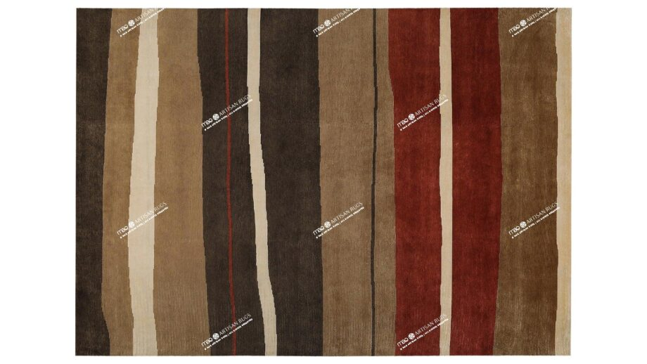 Mae Artisan Rugs   African Stripe Red Brown C1121 80 knot 350250 2.5m X 3m Mae Rugs Template Top View