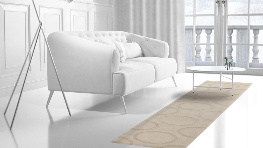 Mae Artisan Rugs | C1448 himalaya raised circles cream 4.21 x 0.83m Runner 4m X 0.85m Mae Rugs Template Side View 2 Recovered