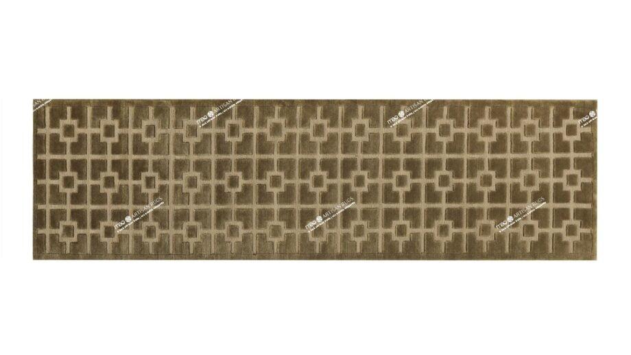 Mae Artisan Rugs | Nn himalaya squares green 3.00 x 0.83m Runner 3m x 0.85 Mae Rugs Template Top View