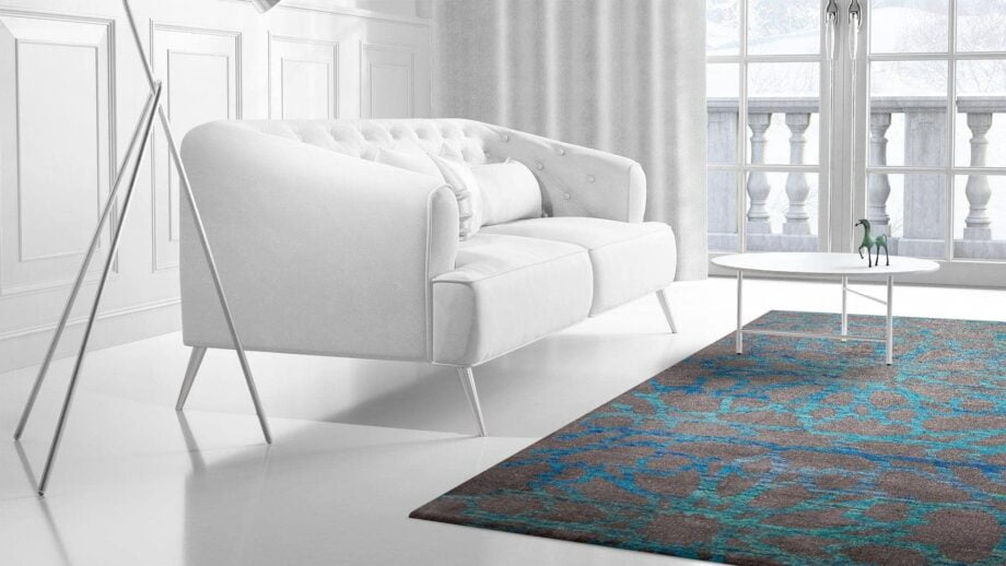 Mae Artisan Rugs | Sari Silk silk electric blue no number 3.00 x 2.50m 2.5m X 3m Mae Rugs Template Side View 2 Recovered