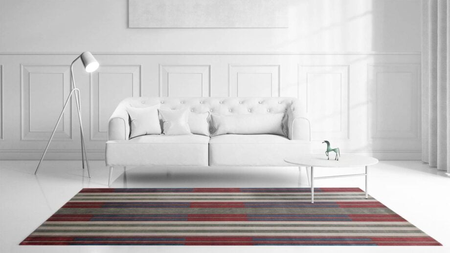Mae Artisan Rugs | The Art Deco Himalaya green and red 60850 2.95 x 2.53m 2.5m X 3m Mae Rugs Template Front View Recovered