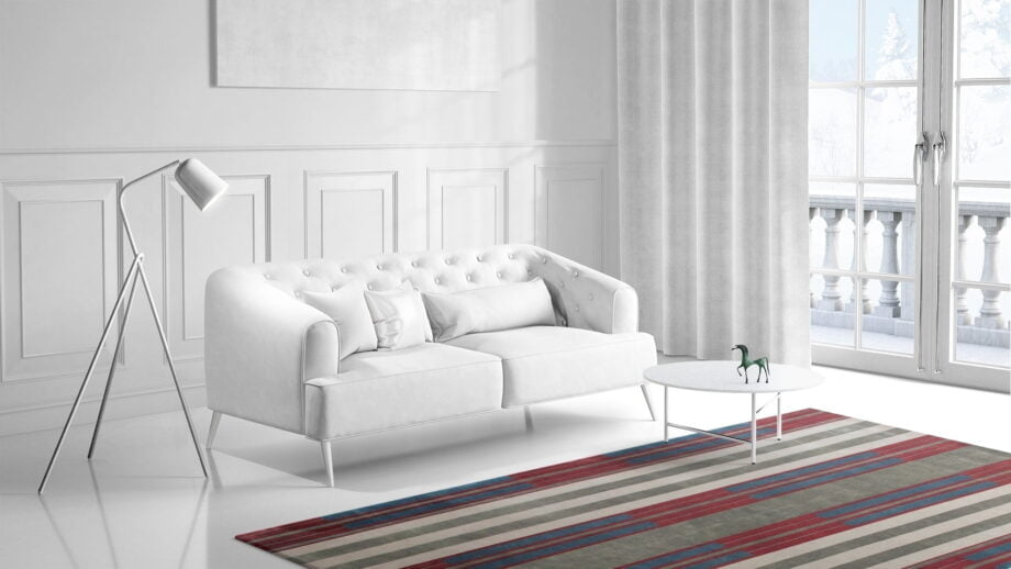 Mae Artisan Rugs | The Art Deco Himalaya green and red 60850 2.95 x 2.53m 2.5m X 3m Mae Rugs Template Side View 1 Recovered