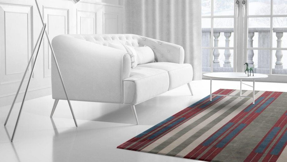 Mae Artisan Rugs | The Art Deco Himalaya green and red 60850 2.95 x 2.53m 2.5m X 3m Mae Rugs Template Side View 2 Recovered