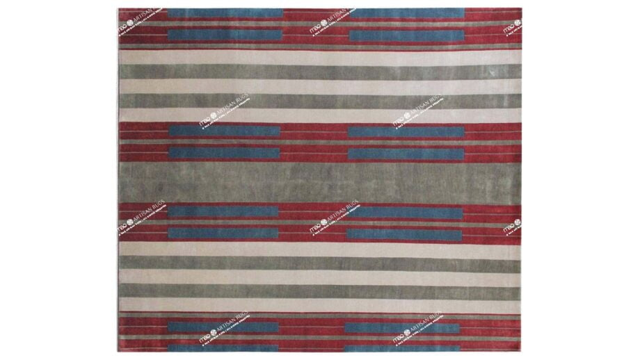 Mae Artisan Rugs   The Art Deco Himalaya green and red 60850 2.95 x 2.53m 2.5m X 3m Mae Rugs Template Top View Recovered