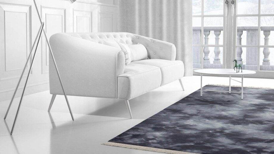 Mae Artisan Rugs | The Batic Grey Blue kelim batik greyblue 12399 2.40 x 1 .70m Fringed 240 x 170 Mae Rugs Template Side View 2