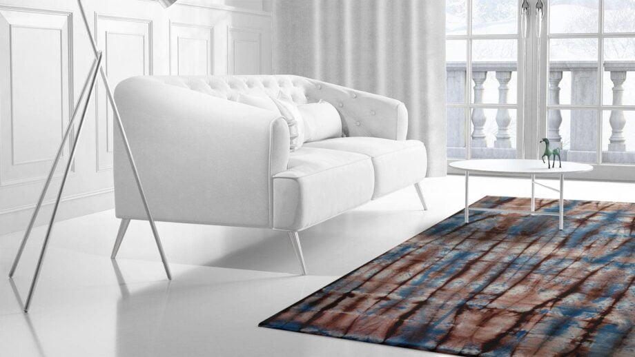 Mae Artisan Rugs | The Batic Red Blue kelim batik red and blue 12150 2.5m X 3m Mae Rugs Template Side View 2