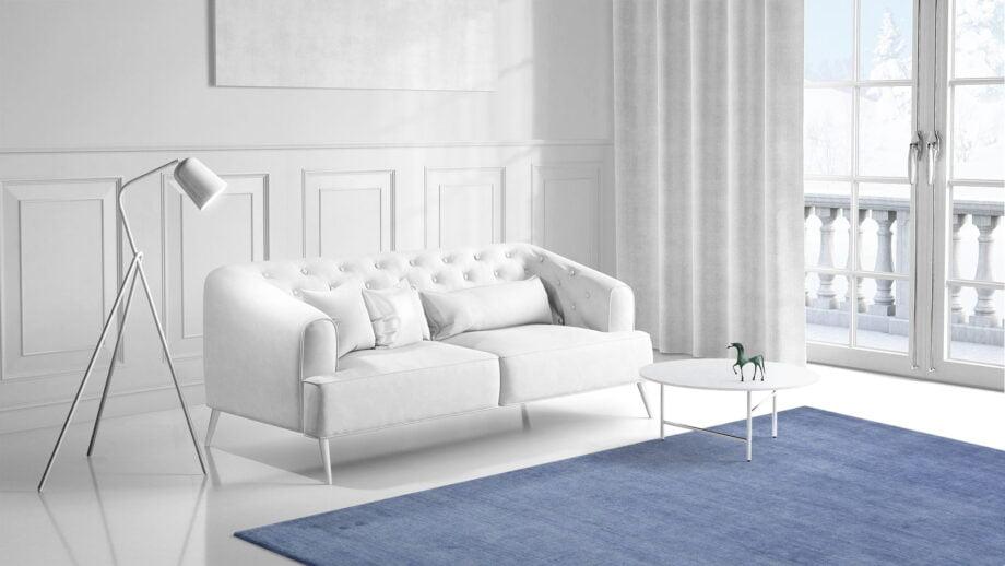 Mae Artisan Rugs | The Matt Blue bamboo silk 2389 3.00 x 2.50m 2.5m X 3m Mae Rugs Template Side View 1