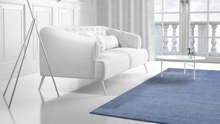 Mae Artisan Rugs | The Matt Blue bamboo silk 2389 3.00 x 2.50m 2.5m X 3m Mae Rugs Template Side View 2