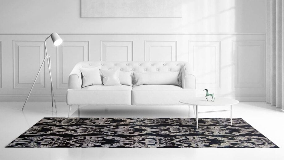 Mae Artisan Rugs | The Wallpaper eclectic wall paper black white 1241 3.42 x 2.60m 350 x 250 Mae Rugs Template Front View