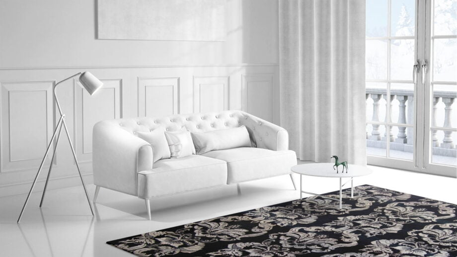 Mae Artisan Rugs | The Wallpaper eclectic wall paper black white 1241 3.42 x 2.60m 350 x 250 Mae Rugs Template Side View 1