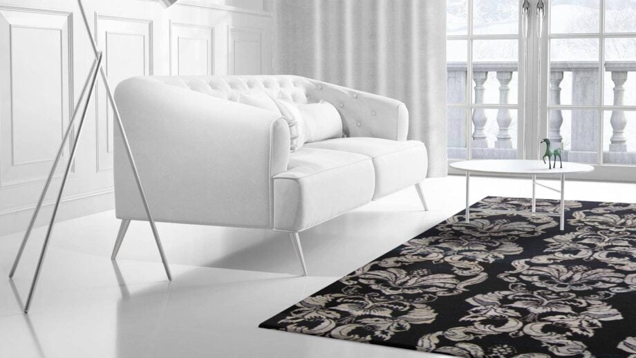 Mae Artisan Rugs | The Wallpaper eclectic wall paper black white 1241 3.42 x 2.60m 350 x 250 Mae Rugs Template Side View 2 Recovered
