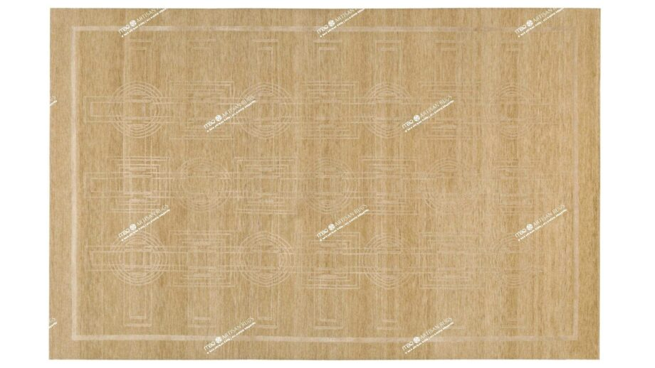 Mae Artisan Rugs | Tibetan Biscuit Rectangular Circles C1054 280185 80 knot 25 Silk 2m X 3m Mae Rugs Template Top View