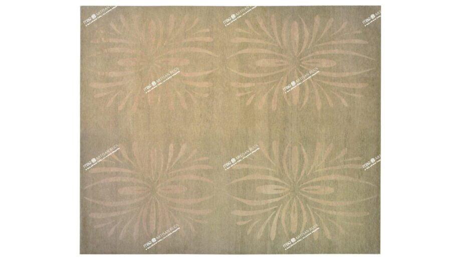 Mae Artisan Rugs | Tibetan star flower bold green C1273 2.53m 2.5m X 3m Mae Rugs Template Top View