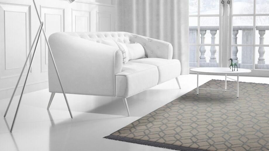 Mae Artisan Rugs | kelim Roll 1 2855 cut pile 3D Box white grey 3.00 x 2.50m 2.5m X 3m Mae Rugs Template Side View 2