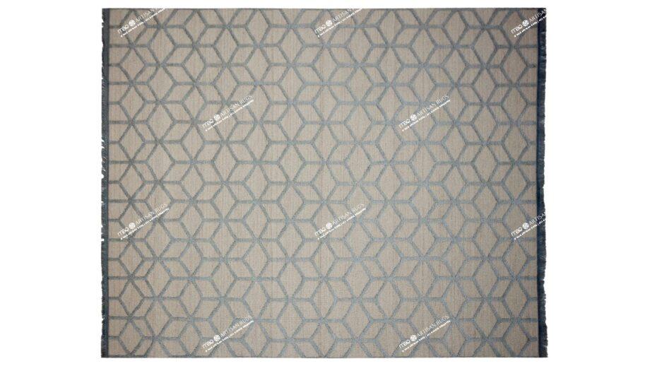 Mae Artisan Rugs | kelim Roll 1 2855 cut pile 3D Box white grey 3.00 x 2.50m 2.5m X 3m Mae Rugs Template Top View