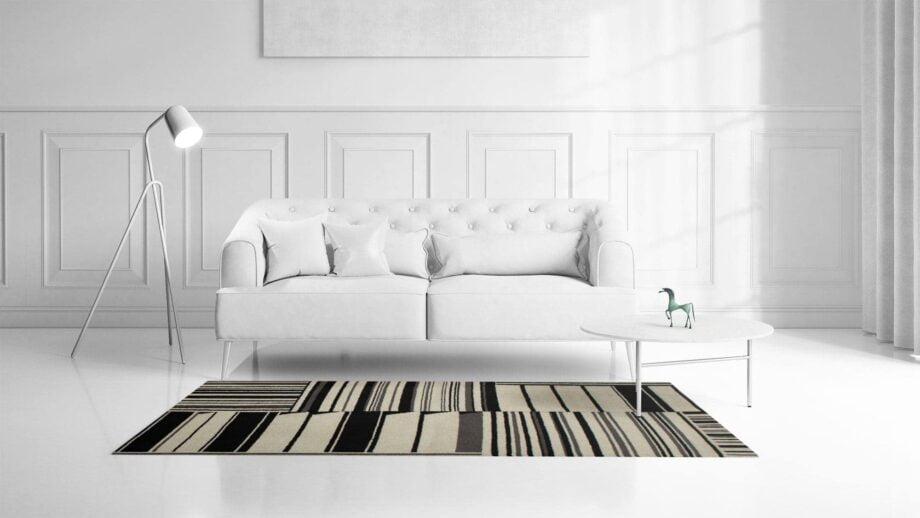 Mae Artisan Rugs | kelim gouwes Black white 1.3m X 2m Mae Rugs Template Front View