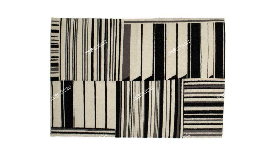 Mae Artisan Rugs | kelim gouwes Black white 1.3m X 2m Mae Rugs Template Top View