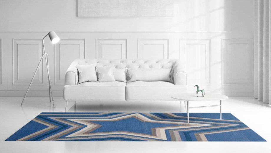 Mae Artisan Rugs | kelim star blue Nn 3.50 x 2.50m Mae Rugs Template Front View
