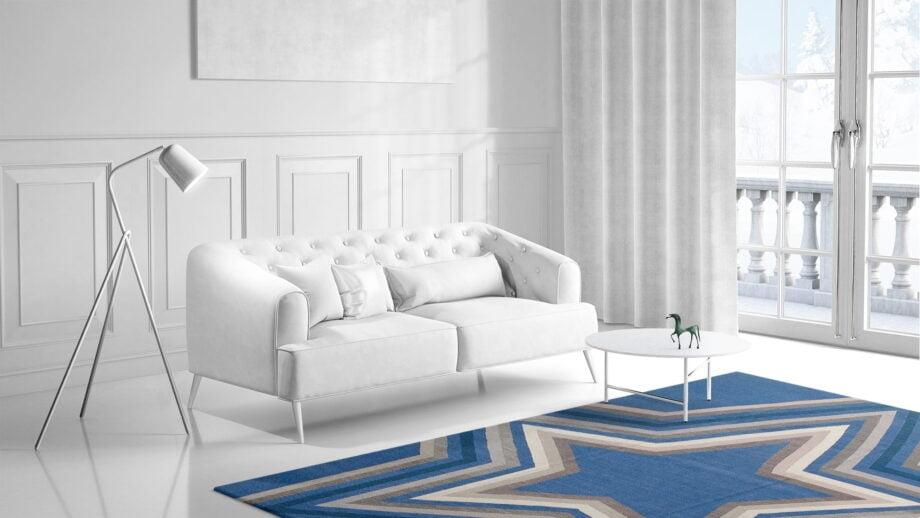 Mae Artisan Rugs | kelim star blue Nn 3.50 x 2.50m Mae Rugs Template Side View 1