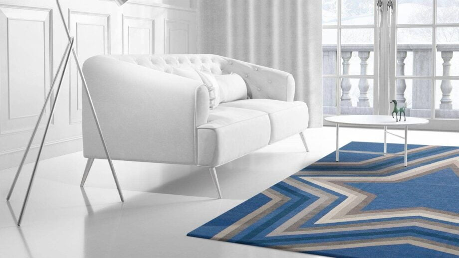 Mae Artisan Rugs | kelim star blue Nn 3.50 x 2.50m Mae Rugs Template Side View 2 Recovered
