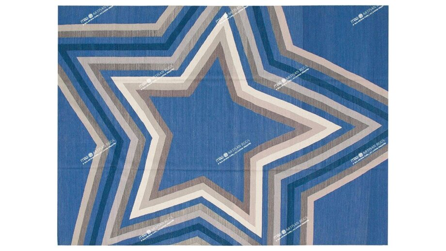 Mae Artisan Rugs | kelim star blue Nn 3.50 x 2.50m Mae Rugs Template Top View