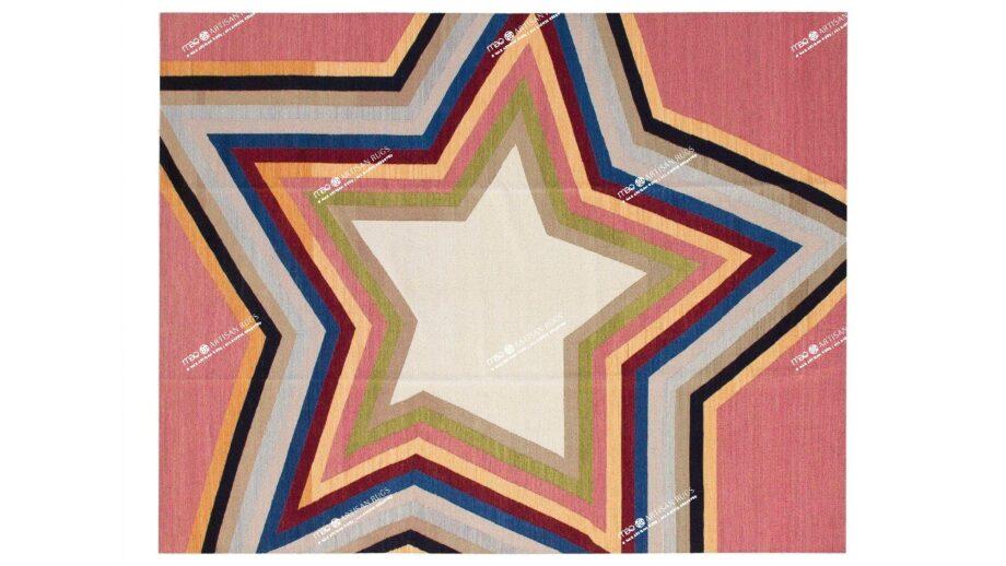 Mae Artisan Rugs | kelim star pink 11122 3.50 x 2.50m Mae Rugs Template Top View