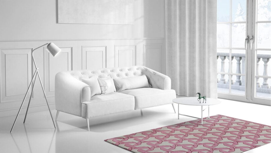 Mae Artisan Rugs | modern fan pink 40505 2.00 x 1.30m 1.3m X 2m Mae Rugs Template Side View 1