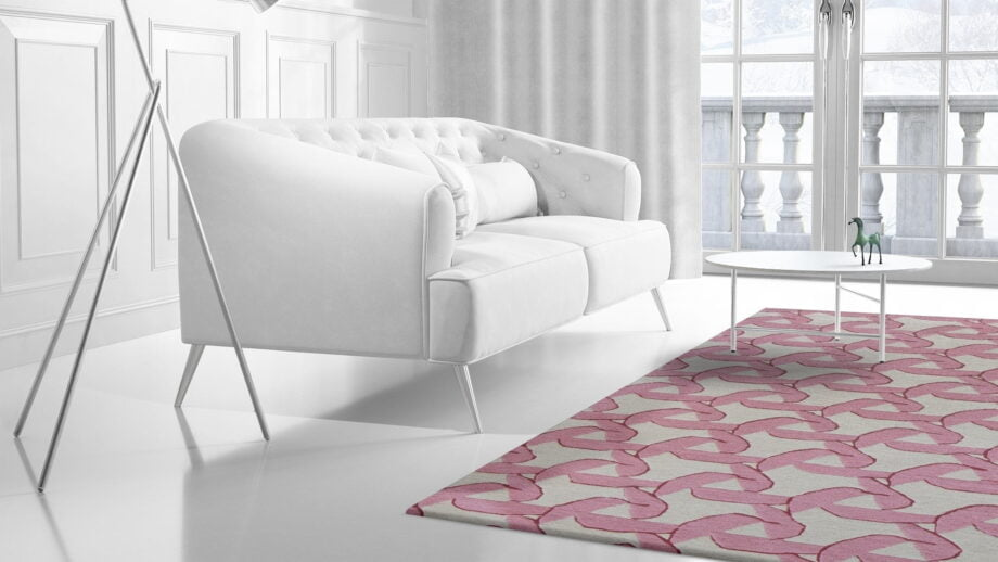 Mae Artisan Rugs | modern fan pink 40505 2.00 x 1.30m 1.3m X 2m Mae Rugs Template Side View 2