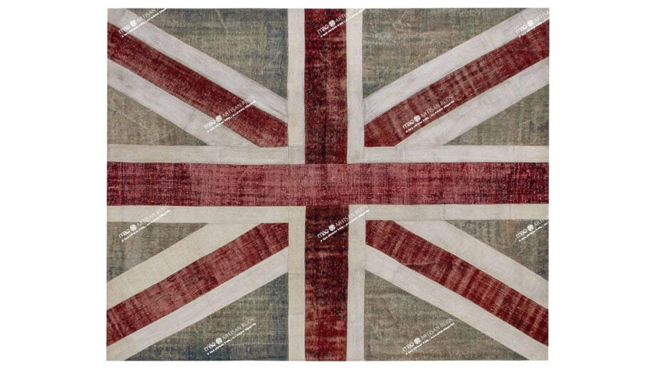 Mae Artisan Rugs | patchwork Nn Union Jack 3.00 x 2.50m 2.5m X 3m Mae Rugs Template Top View Recovered