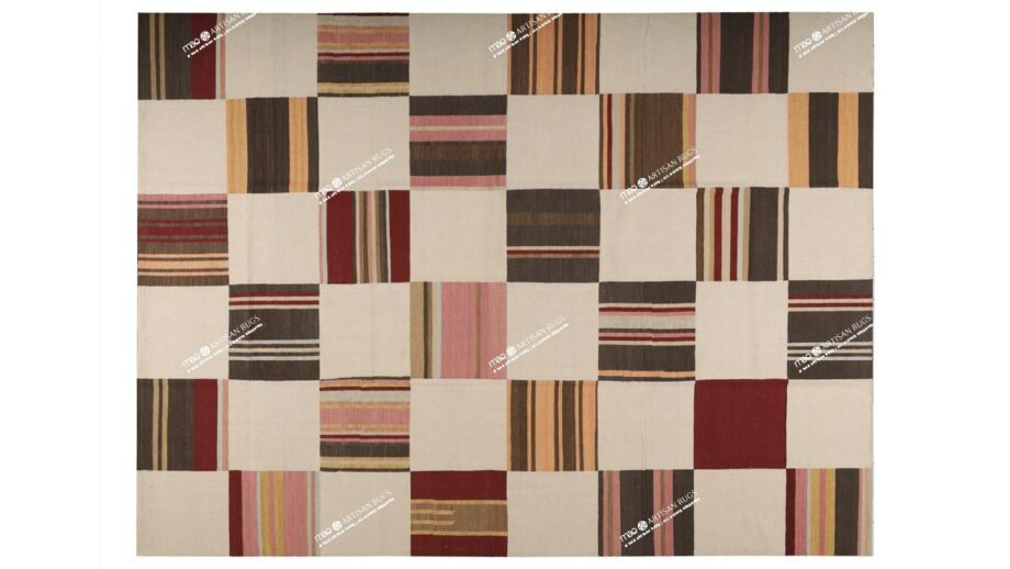Mae Artisan Rugs | 11181 kelim OLD MP STOCK colourful blocks 4.00 x 3.00m Rectangular 3m x 4m Mae Rugs Template Top View