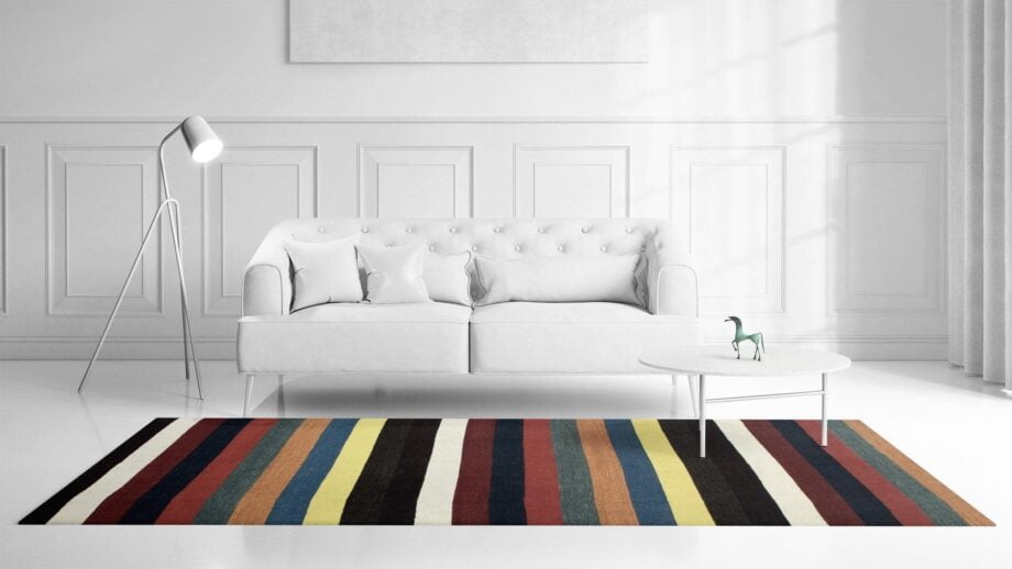 Contemporary – Clown Lines – Kelim – 1319 – 1.85 x 2.80 – Rectangular 2m X 3m – Mae Rugs Template – Front View