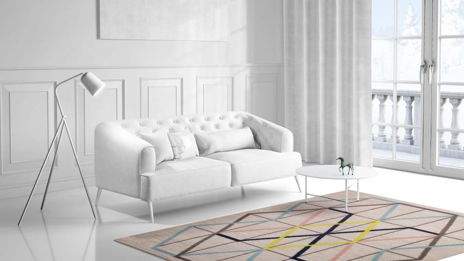 Mae Artisan Rugs | Contemporary Embroidered Kelim 3 x 2.50 Rectangular 2.5m X 3m Mae Rugs Template Side View 1 scaled