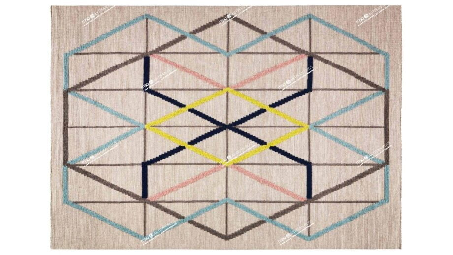 Mae Artisan Rugs | Contemporary Embroidered Kelim 3 x 2.50 Rectangular 2.5m X 3m Mae Rugs Template Top View