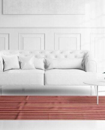 Mae Artisan Rugs | Contemporary Maroon Pink Stripe Kelim 11109 1.80 x 2.80 Rectangular 2m X 3m Mae Rugs Template Front View