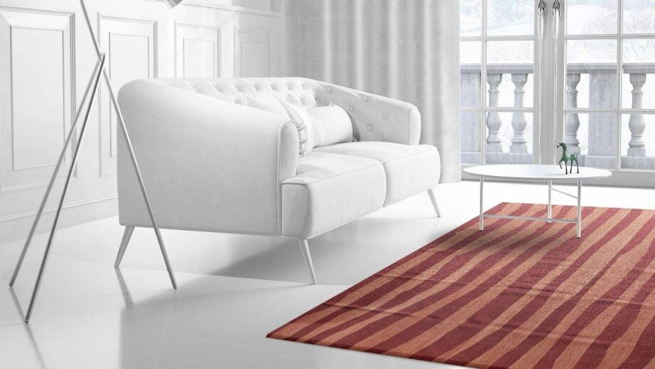 Mae Artisan Rugs | Contemporary Maroon Pink Stripe Kelim 11109 1.80 x 2.80 Rectangular 2m X 3m Mae Rugs Template Side View 2