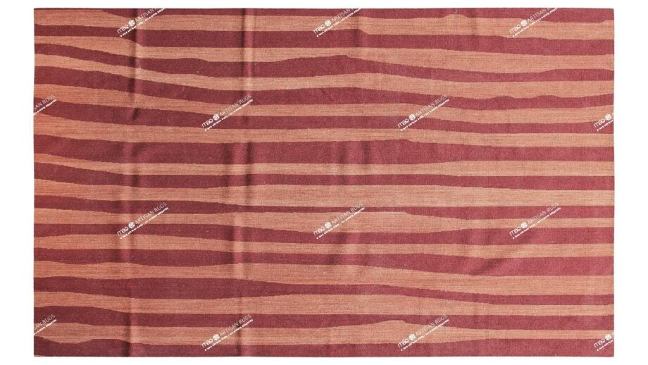Mae Artisan Rugs | Contemporary Maroon Pink Stripe Kelim 11109 1.80 x 2.80 Rectangular 2m X 3m Mae Rugs Template Top View