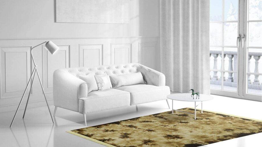 Mae Artisan Rugs | Kelim Batik Green Brown 12197 350 x 250m Fringed 2.5m X 3.5m Mae Rugs Template Side View 1
