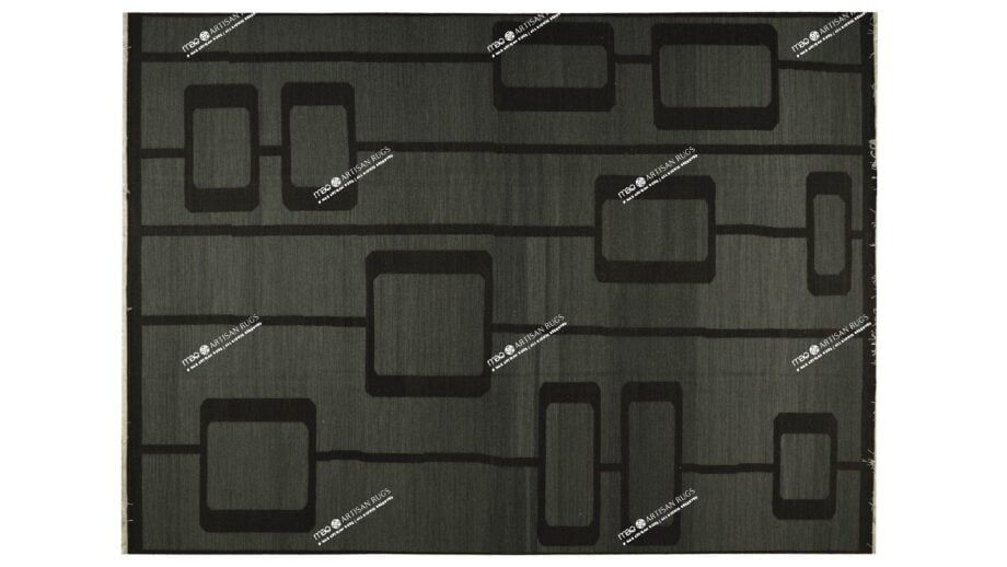 Mae Artisan Rugs | Kelim Old MP Stock Retro Chain Black 11194 4.00 x 3.00m 2m X 3m Mae Rugs Template Top View