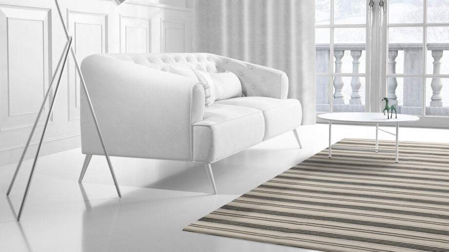 Mae Artisan Rugs | Kelim Stripes Hip Grey Black White 1281 3.00 x 2.50m 2.5m X 3m Mae Rugs Template Side View 2