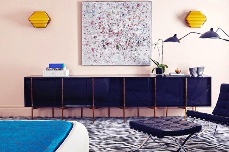 modern dresser on a zebra rug